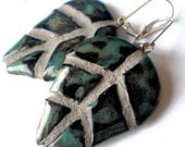 Black Raku Leaf REVERSIBLE Mosaic Tile Earrings