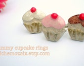 Cupcake Ring Clay Mosaic Tile on Adjustable Silver Toned Band