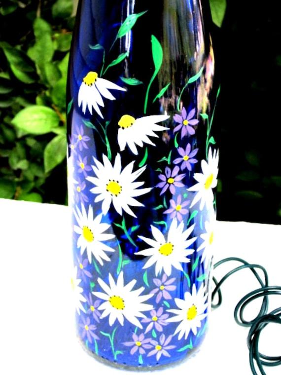 Wine Bottle Night Light, Beautiful Blue, White Daisies with Purple Flowers