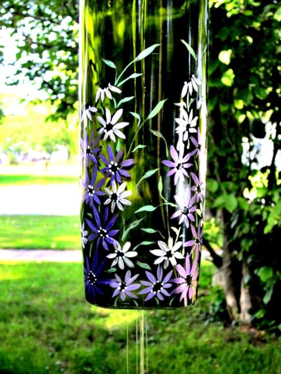 Wine Bottle Wind Chime Dark Green Bottle with Purple Flowers