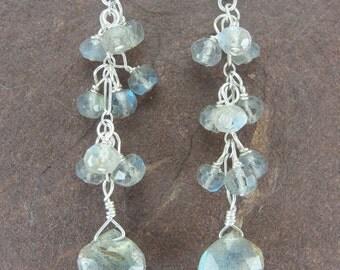 Labradorite Cluster Cascade Earrings by Screaming Peacock Jewelry