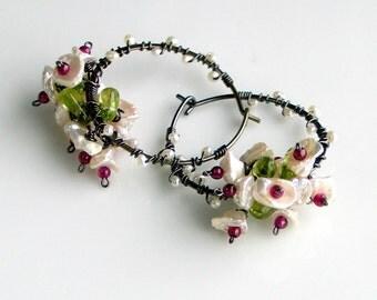 White Keishi Pearl Earrings, Pearl Garnet Peridot Flower Bouquet, Dark Sterling Hoop Earrings, Flower Vines, Nature Fashion