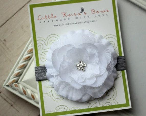 Macie White Rhinestone Flower on Grey Elastic Headband ...Multiple Sizes Available Newborn Baby Infant Toddler Adult