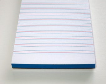 blue notepad, 3.5 x 5.5