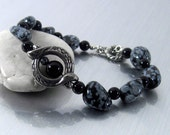 """Snowflake and Black Obsidian Bracelet - """"Clarity and Grounding"""" Stone Nugget Bracelet, Gray and Black, Earthy Jewelry"""