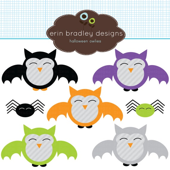 Halloween Clipart Vampire Owls & Spiders Digital Clip Art Graphics Personal and Commercial Use