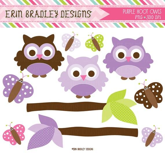 Purple Owl Clipart Clip Art Personal & by ErinBradleyDesigns