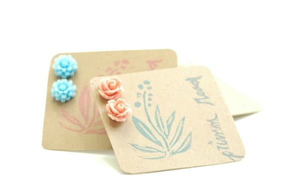 Peach Rose Earrings Mini Icing Roses Stud Posts Apricot Pale Coral