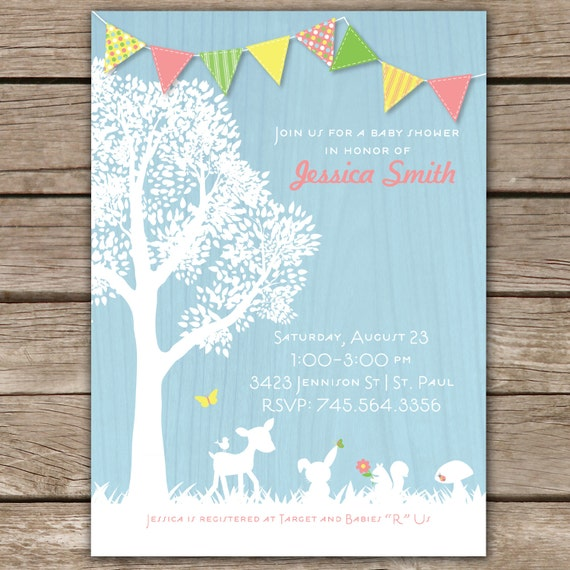 woodland critters custom baby shower invitation girl by conveying