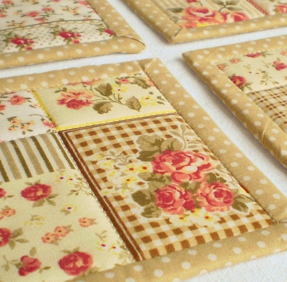 Quilted Fabric Coasters Roses With Tea 2 Or 4 Or 6