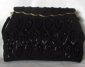 Black Seed Beaded Vintage Handbag