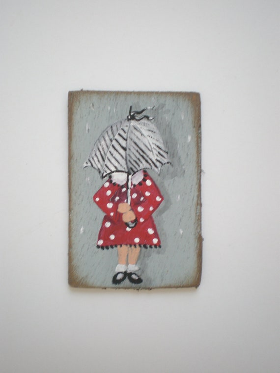 Hand Painted Under My Umbrella  Dollhouse Miniature Painting