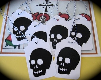 Day of the Dead 6 Black Skull Gift tags -----Accented with black and white divine twine