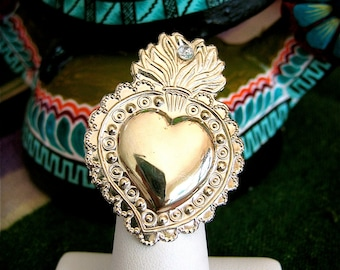 Med Silver SACRED HEART Intricate Milagro Ring- Perfect gift for your loved one this holiday- 1.5""