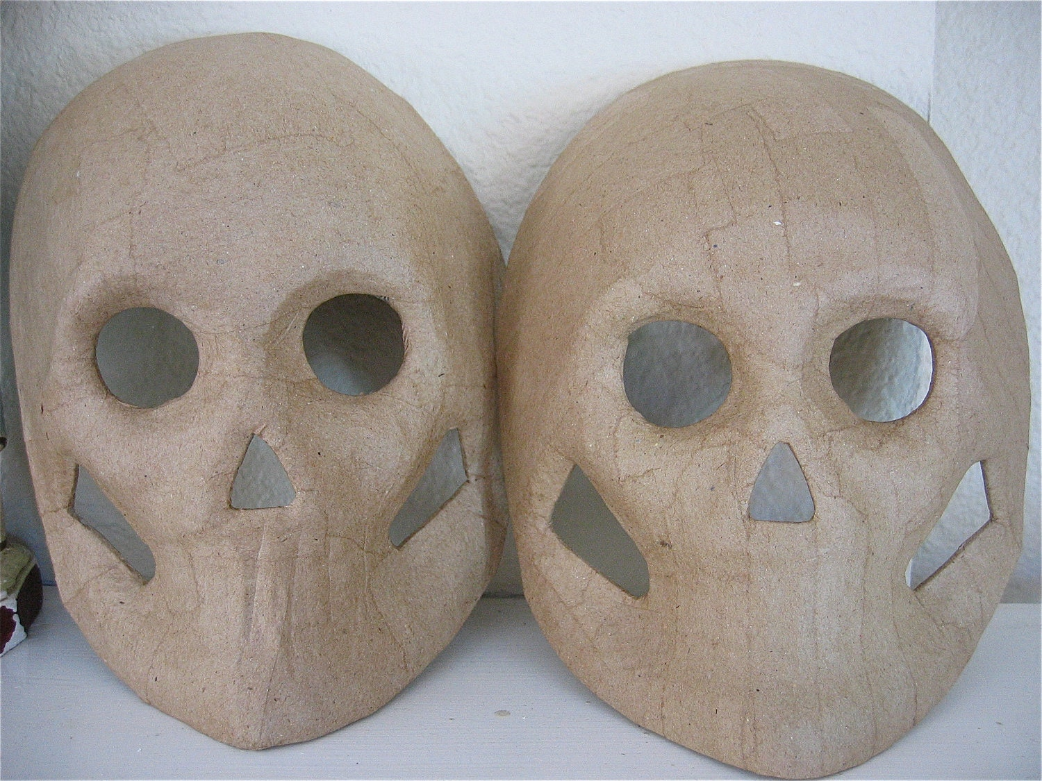 Sale set of 2 day of the day paper mache skeleton masks for Paper mache mash