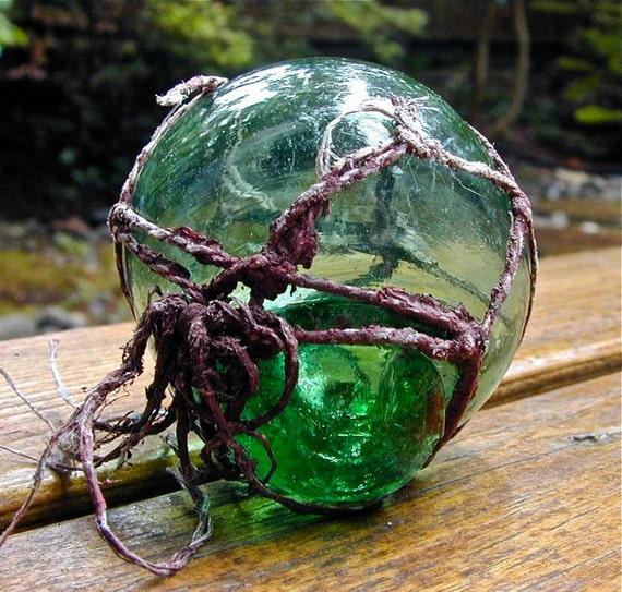Vintage Glass Fishing Float, DINO EGG Korean, Nautical Decor, Beach Decor, Antique, Blown Glass, Ocean, Recycled Glass, Sea, Home and Garden
