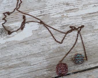 2  POMPOMS French Handmade simple 2 pompoms necklace