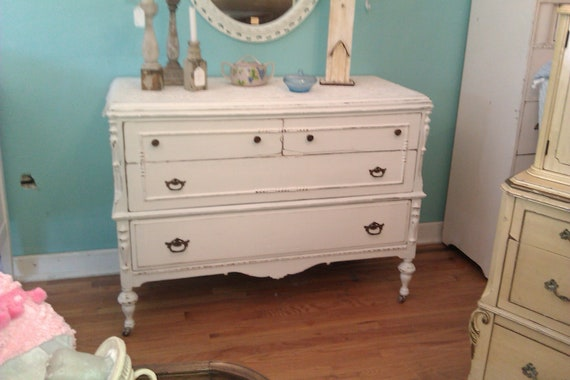 shabby antique chic dresser cottage prairie vintage white distressed painted