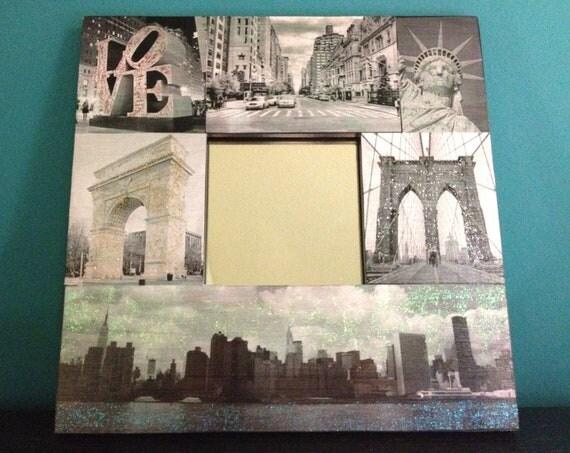 New York City Decoupage Glitter Mirror NYC