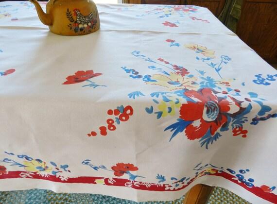 Vintage Wilendur Red Blue Flower Tablecloth