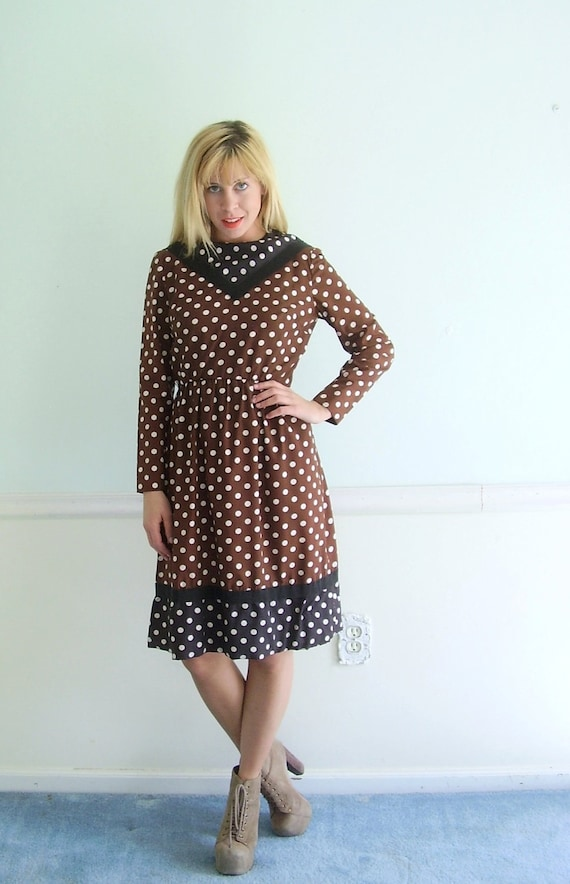 Polka Dot Printed Vintage 50s LS Fitted Mad Men Style Dress SMALL S Chocolate Brown