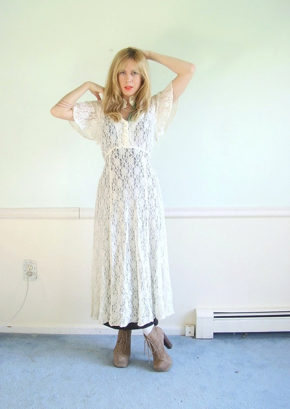 Bohemian Flutter Sleeve Vintage 80s SS Sheer Ivory White Lace Maxi Dress S/M