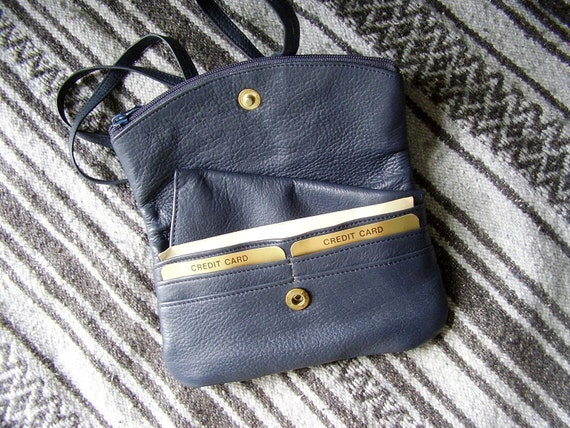 Navy Leather Mini Shoulder Cross Body Clutch Bag - Vintage 80s - Blue
