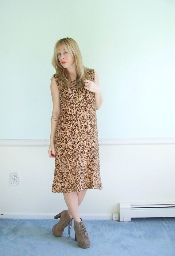 Jungle Fever Vintage Early 90s Cheetah Printed Sleeveless Dress S/M