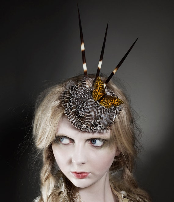 """Snakeskin, Rooster Feather and Porcupine Quill Fascinator """"Artemis"""""""