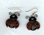 Steampunk Ladybug Earrings Polymer Clay Jewelry