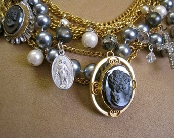 Dark Beauty in Mourning: Cameo Necklace Victorian Vintage Assemblage Choker Statement Steel Grey Hematite Cameos Rhinestones Crosses
