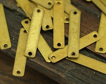 Brass Rectangle  Connector, 100 Raw Brass Rectangle Connector Charms Geometric Findings with 2 Holes (20x4mm) Brs 657 A0270