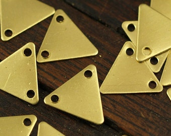 Tiny Triangle Charm, 500 Raw Brass Triangle Charms With 2 Holes (9x10mm) Brs 6212 A0049