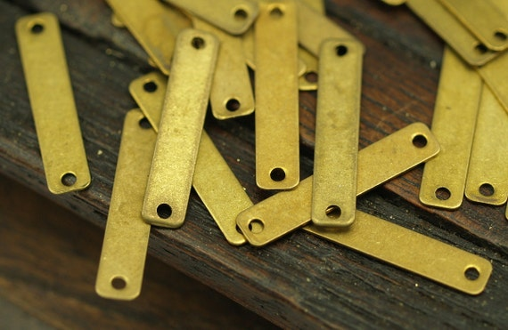 Brass Rectangle Connector, 50 Raw Brass Rectangle Connectors, Charms Geometric Findings With 2 Holes (20x4mm) Brs 657 ( A0270 )