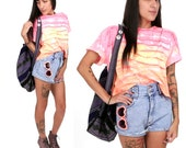80's Neon Tie Dye Crop Top M/L Rainbow Striped Acid Wash Surfer Punk