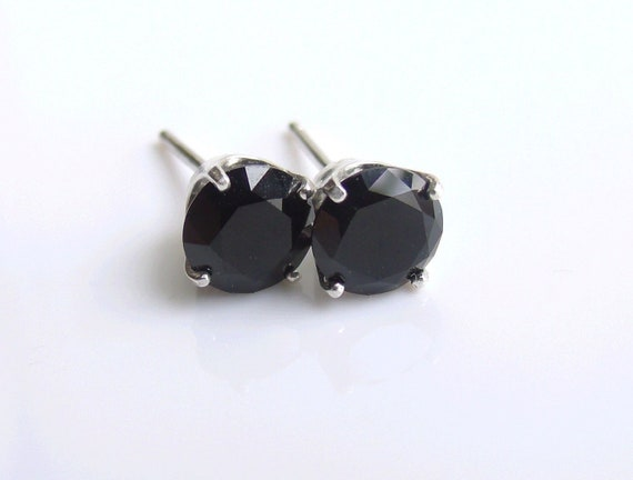 Black Spinel Studs Sterling Silver Earrings 6mm