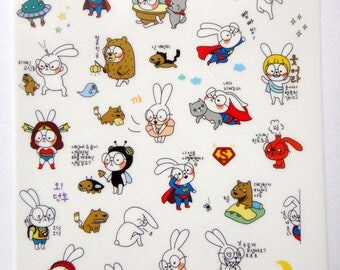 Cute Bunny Rabbit Plastic Stickers From Korea - Superman, Wonderwoman, Dog, Pig, Turtle, Alien, UFO, Ice Cream, Bear, Cat, Bee, Poo, Camera