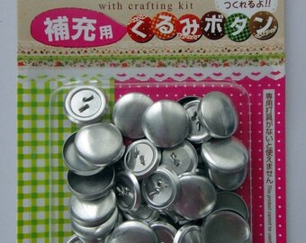 Aluminum / Stainless Steel Self Cover Buttons - Makes 27 Fabric Covered Buttons - Blank Button Shell & Shank / Wire Back - 0.71inch (18mm)