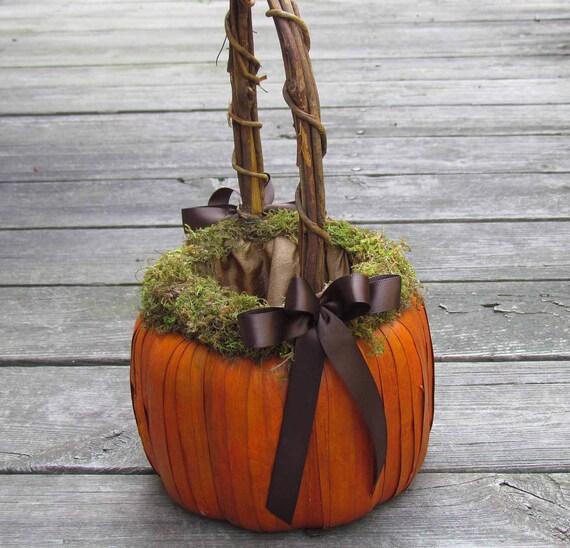 Tall Orange Pumpkin Basket for Flower Girl
