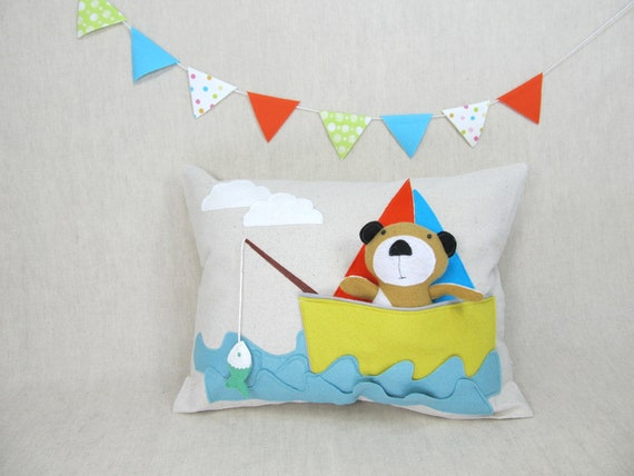 Playful Pillow with Bear in the Boat RESERVED
