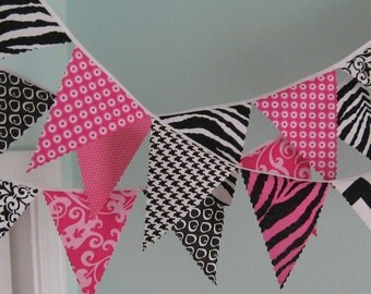 Mini pennant banner - Pink and Black- READY TO SHIP