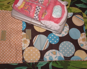 Diaper clutch, diaper and wipes case, blue designer dots