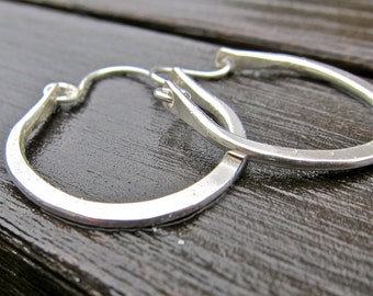 Argentium Sterling Hoops, Recycled Sterling Hoops, Sturdy Hammered Hoops