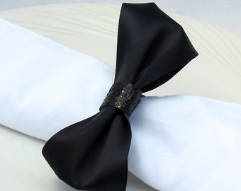 Black Tie Bow Napkin Ring -  New Years - Wedding Reception - Formal Dinner