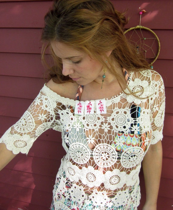 Off The Shoulder Boho Cream White Lace Upcycled Eco Chic Crochet Layering Top Size Small/Medium