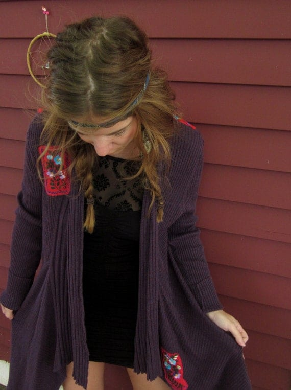 Purple Red Mexican Embroidered Bohemian Upcycled Drapey Asymmetrical Cardigan Sweater Jacket Size XL By MountainGirlClothing
