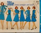 Vintage Simplicity 6850 Sewing Pattern A Line Dress, Sweater Jacket, Scarf, Belt Bust 36 UNCUT