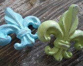 fleur de lis knobs, set of 2, available in many colors