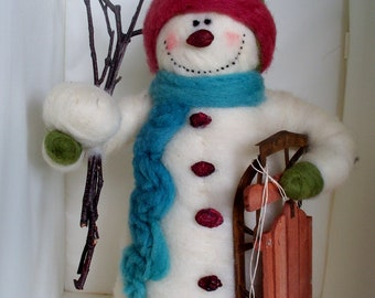 Stanley the Felted Wool Snowman