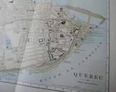 1887 City Map Quebec City Quebec Canada - Vintage Antique Map Great for Framing 100 Years Old